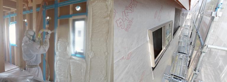 姫路市でZEHの吹付断熱&外壁遮熱防水シート