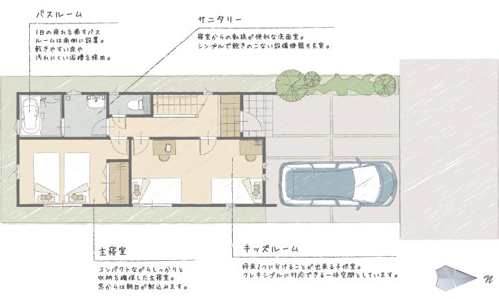 姫路市の無垢の家づくり・間取り図1