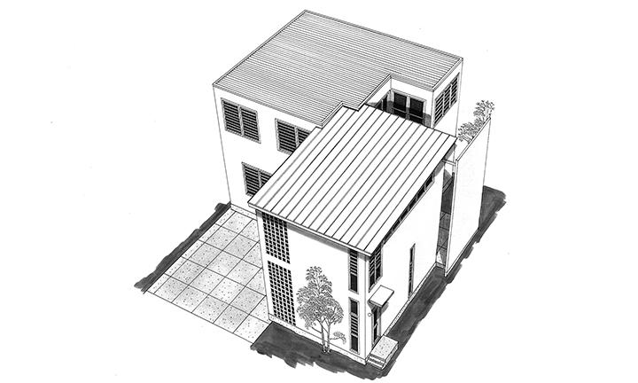 姫路市のコストを抑えたL字型の家